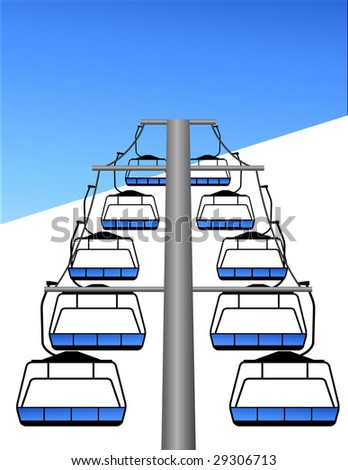 Ski lift, vector illustration, EPS file included - stock vector
