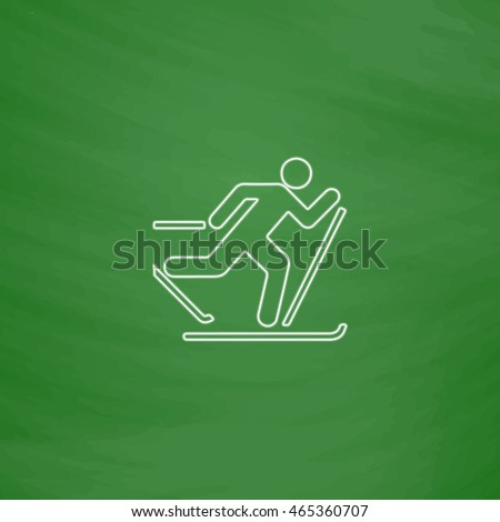 ski Outline vector icon. Imitation draw with white chalk on green chalkboard. Flat Pictogram and School board background. Illustration symbol