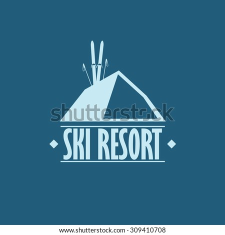 Ski resort badge. Flat design with skis and sticks. Suitable for corporate identity or branding. Advertising promotional banner. Eps10 vector illustration. - stock vector