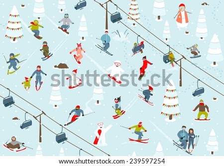 Ski Resort Seamless Pattern with Snowboarders and Skiers. Mountain skiing background winter resort with people Vector illustration. - stock vector