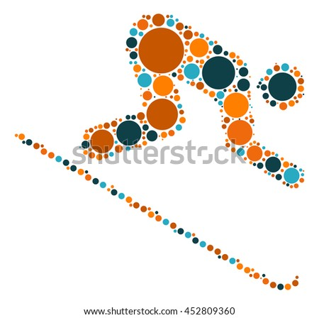 ski shape vector design by color point