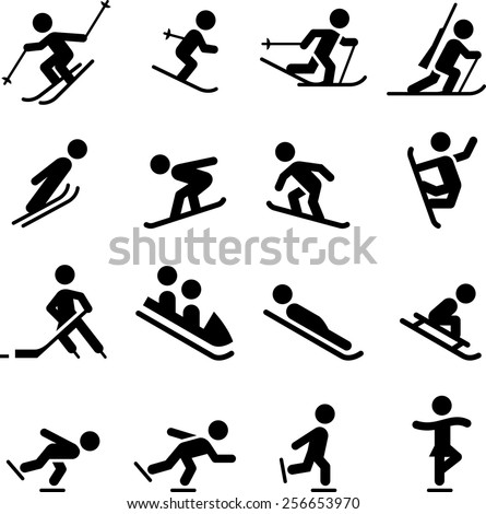 Ski, skate, hockey, snowboarding and sledding icons. Vector icons for digital and print projects. - stock vector