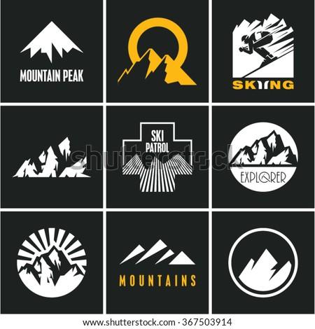 Ski. Skiing. Skier. Mountain icons set. Mountain peak. - stock vector