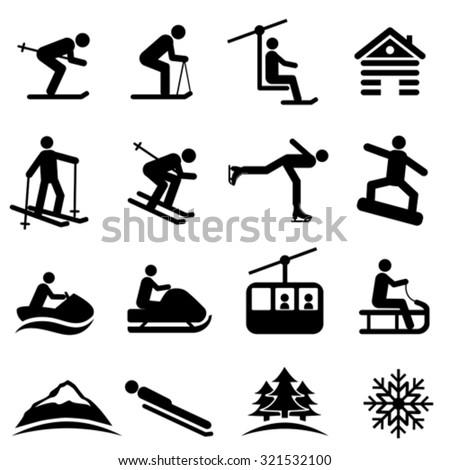 Ski, snow and winter icon set - stock vector