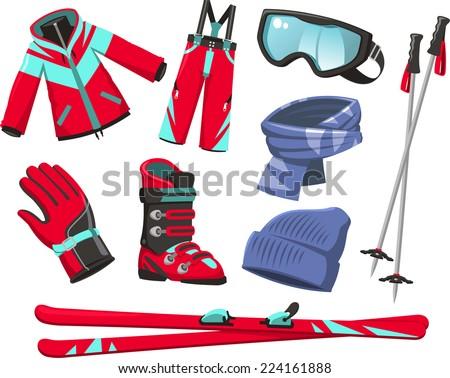 Ski tools and equipment cartoon icons - stock vector