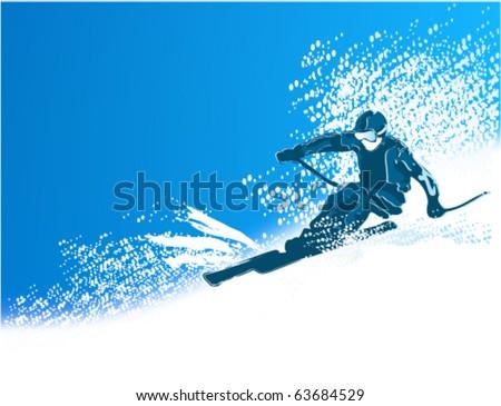 Skier - stock vector