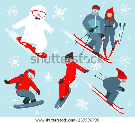 Skier and Snowboarder Winter Sport Illustration Collection. Snowboarding and skiing winter fun sport vector illustration with snowflakes. - stock vector