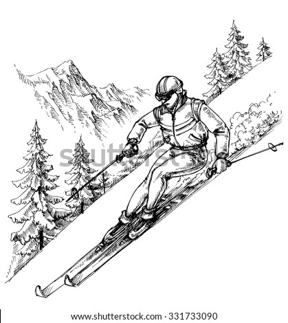 Skier in mountains landscape - stock vector