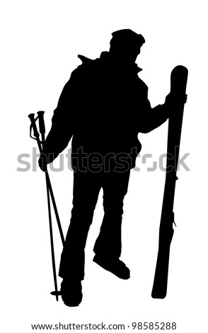 Skier silhouette isolated - stock vector