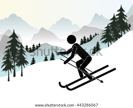 Skier. Slalom downhill skiing. Sport winter, speed skier extreme, active slope, flat vector illustration
