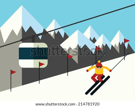 Skier slides from the mountain, vector illustration - stock vector
