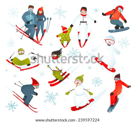 Skier Snowboarder Snowflakes Winter Sport Collection. Snowboarding and skiing winter season fun sport vector. - stock vector