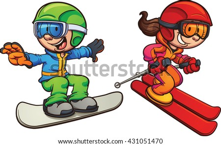 Skiing and snowboarding kids. Vector clip art illustration with simple gradients. Each on a separate layer.  - stock vector