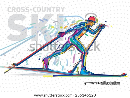 Skiing competition. Vector artwork in the style of paint strokes - stock vector