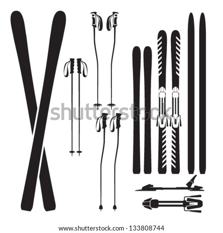 Skiing gear set - assortment of skiing equipment silhouette icons - stock vector