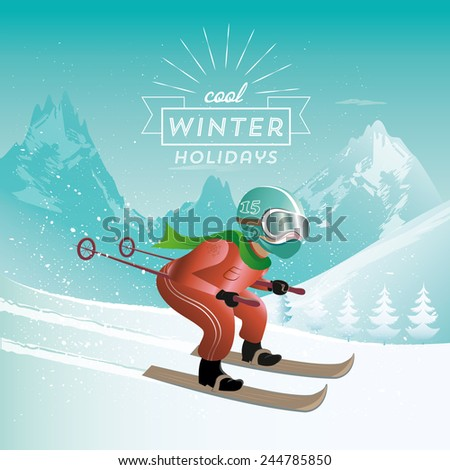 skiing in the mountains - stock vector