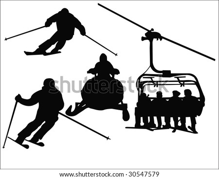 skiing silhouette - stock vector