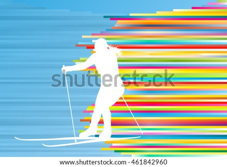Skiing woman abstract vector illustration with colorful stripes on blue background