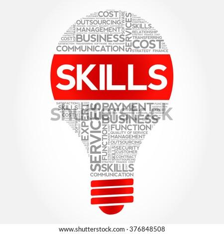 Skills bulb word cloud, business concept - stock vector