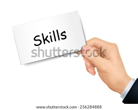 skills card in hand isolated over white background - stock vector