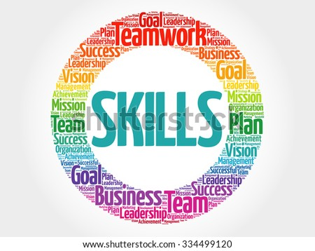 Skills circle stamp word cloud, business concept - stock vector