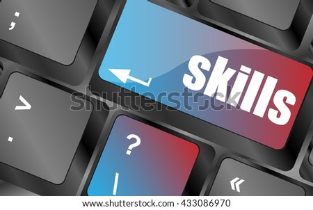 skills message on enter key of keyboard keyboard keys, keyboard button, keyboard icon - stock vector