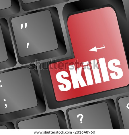 skills message on enter key of keyboard vector - stock vector