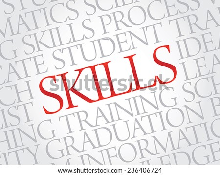SKILLS. Word education collage on gray vector background - stock vector