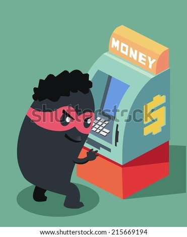Skimming and fraud is crime. Flat vector illustration - stock vector
