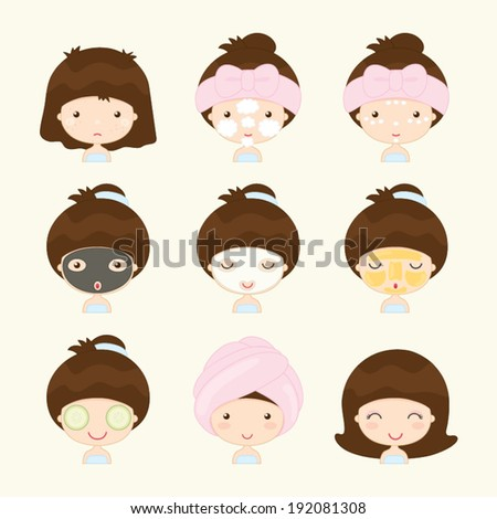 Skin care and Beauty Spa with Cute Girl face - stock vector