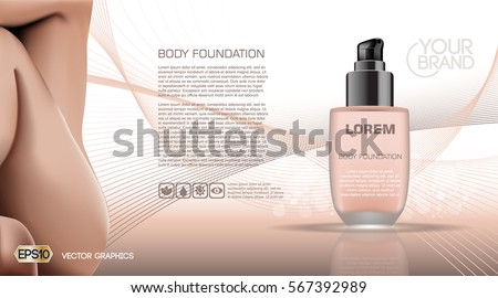 Skin Care Beauty Body Foundation Moisturizing Lotion Cosmetic Ads Template Mockup 3D Realistic Woman
