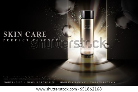 skin care essence contained in glass bottle, lighted in dark background, 3d illustration