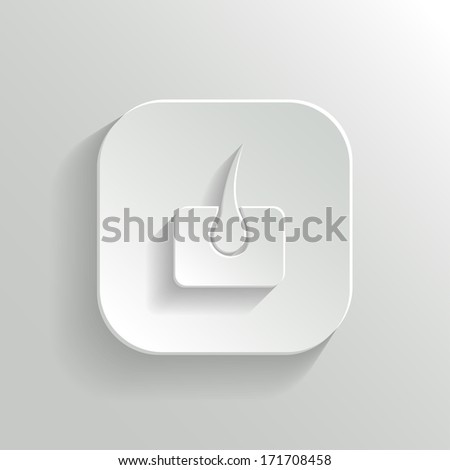 Skin icon - vector white app button with shadow - stock vector