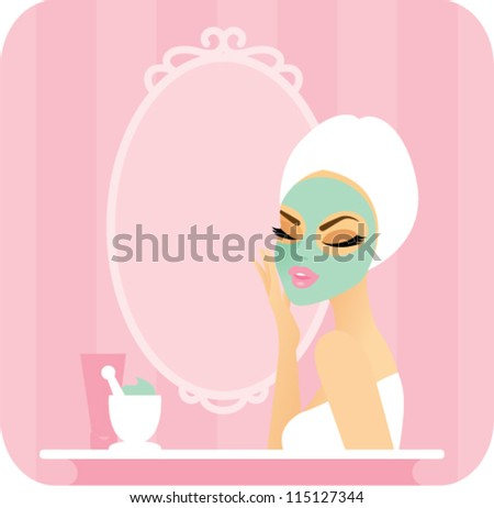 Skincare series-Mask. Young woman with a towel over her hair applying a facial mask in front of a vanity mirror. On the counter are some tools and ingredients for making a homemade organic mask. - stock vector