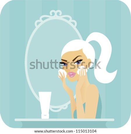 Skincare series-Wash. Young woman washing her face in front of a vanity mirror - stock vector