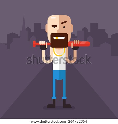 Skinheads robber with a bat in his hands in the middle of the night streets. In a white shirt, jeans, gold tooth. Fully editable vector illustration in flat style. - stock vector