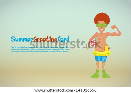 Skinny funny boy  with sunglass enjoying summertime at the beach. - stock vector