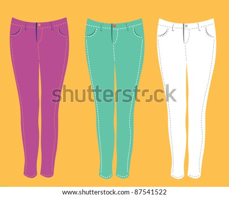 skinny jeans fashion vector element set 1 - stock vector