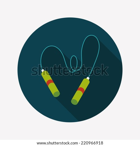 Skipping rope flat icon with long shadow, eps10 - stock vector