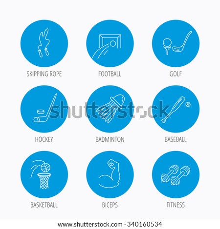 Skipping rope, football and golf icons. Hockey, baseball and badminton linear signs. Basketball, biceps and fitness sport icons. Blue circle buttons set. Linear icons. - stock vector