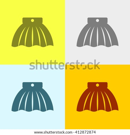 Skirt Icon on Four Different Backgrounds. Eps-10.