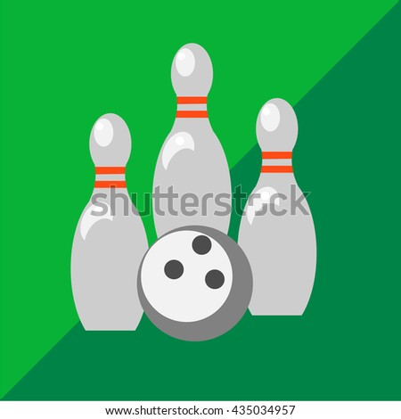 Skittles and bowling ball on two-tone background
