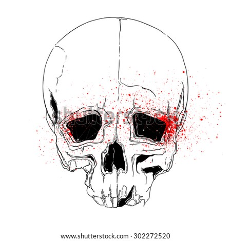 skull and blood - digital vector artwork - tattoo design, invitations for pirate parties and Halloween - stock vector
