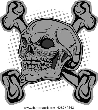 Skull and bones in background halftone