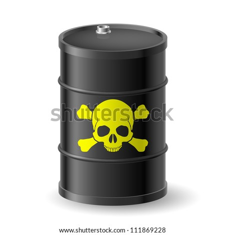 Skull and bones on barrel with poisonous substances - stock vector