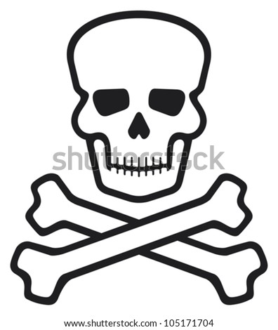 skull and bones (pirate symbol, skull and cross bones, skull with crossed bones) - stock vector