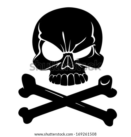 Skull and bones sign of the danger - stock vector