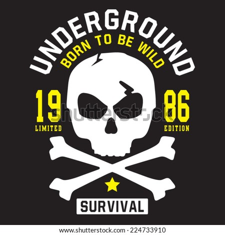 Skull and bones typography, t-shirt graphics, vectors - stock vector