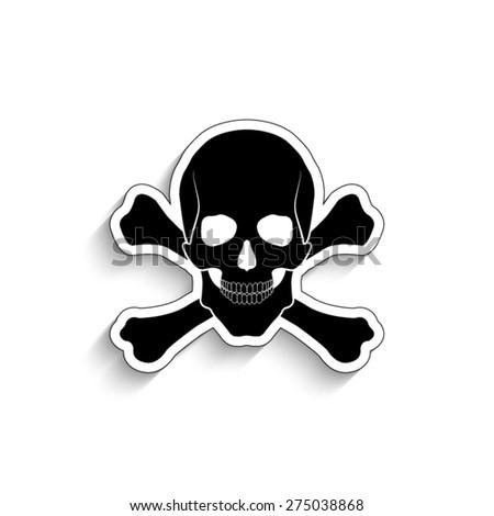Skull and bones  - vector icon - stock vector