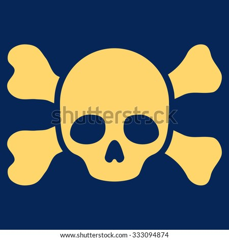 Skull And Bones vector icon. Style is flat symbol, yellow color, rounded angles, blue background. - stock vector